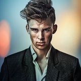 Multicolored digital painted image portrait of elegant young handsome man. Stock Images
