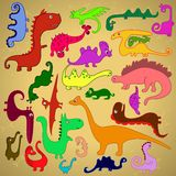 Multicolored Dinosaurs Royalty Free Stock Image