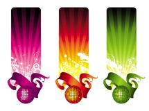Multicolored disco banners Royalty Free Stock Images