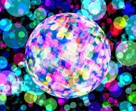 Multicolored discoball backgrounds. With rounds bokeh Royalty Free Stock Photos
