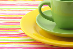 Multicolored dishware Stock Image