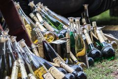 Multicolored and diverse bottles of alcohol at the street food f. Estival in Halle Saale, Germany, 05/19/2018 Royalty Free Stock Images