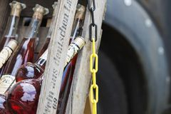 Multicolored and diverse bottles of alcohol at the street food f. Estival in Halle Saale, Germany, 05/19/2018 Royalty Free Stock Photos