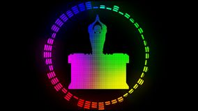 Multicolored DJ. Alpha channel. Alpha matte. Full HD. stock footage