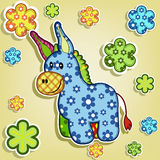 Multicolored donkey with flowers Royalty Free Stock Photos