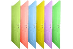 Multicolored doors isolated on a white Stock Image