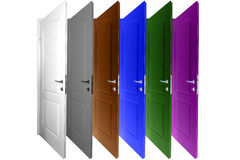 Multicolored doors isolated on a white Royalty Free Stock Photography