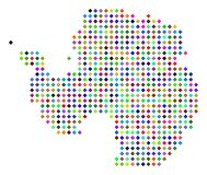 Multi Colored Dot Antarctica Map. Multicolored dot Antarctica map. Vector abstraction of Antarctica map constructed of rhombus pixels pattern. Abstract stock illustration