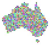 Multi Colored Dot Australia Map. Multicolored dot Australia map. Vector collage of Australia map organized of dot elements. Vector geographic dotted pixelated vector illustration