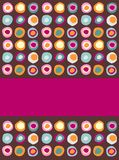 Multicolored dots background. Following a sequential pattern with a purple band ready to insert your own text vector illustration