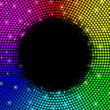 Multicolored dots background, round frame. Vector. Illustration Stock Image