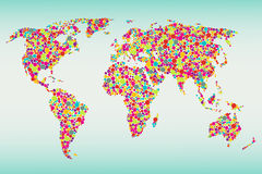 Multicolored dots world map Stock Image