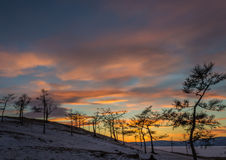 Multicolored dramatic cloudy sky after sunset. Stock Image