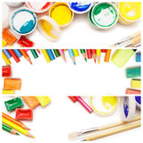 Multicolored drawing instruments over white Stock Photo