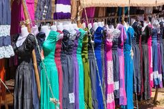 Multicolored dress exposed at the market, Morocco Royalty Free Stock Photography