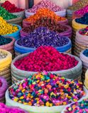 Multicolored dried flowers on sale in the souks of Marrakesh`s medina in Morocco stock image