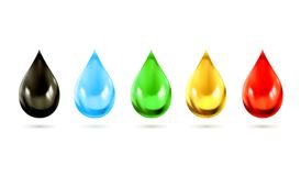 Multicolored droplets vector icons. Set with multicolored droplets, vector icons Stock Photography