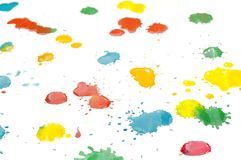 Multicolored drops of paint Stock Photo
