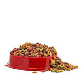 Multicolored dry cat or dog food in red bowl isolated on white background Royalty Free Stock Photo