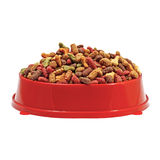 Multicolored dry cat or dog food in red bowl isolated on white background Royalty Free Stock Photography