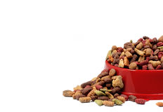 Multicolored dry cat or dog food in red bowl isolated on white Stock Images