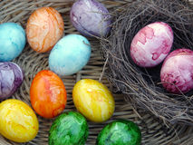 Multicolored Dyed Easter Eggs royalty free stock photos