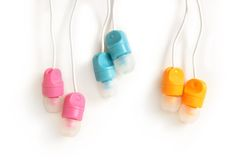 Multicolored Earphones Royalty Free Stock Images