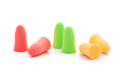 Multicolored earplugs Stock Photo