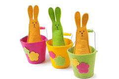Multicolored easter bunnies Stock Photos