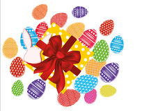 Multicolored easter eggs with pattern. A box with a gift Royalty Free Stock Photos