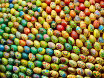 Multicolored easter eggs taken closeup.Background. Stock Images