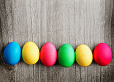Multicolored easter eggs Stock Photos