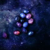 Multicolored eggs on a background of space royalty free stock photography