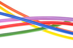 Multicolored electric cables Royalty Free Stock Photos