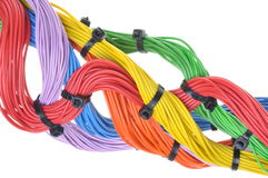Multicolored electrical cables Stock Photo