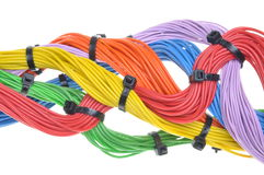 Multicolored electrical cables Royalty Free Stock Photos