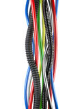 Multicolored electrical cables on white background Stock Image