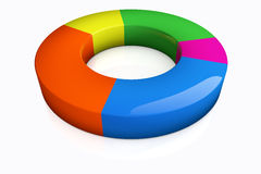 Multicolored Elevated Pie Chart Stock Photos