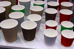 Multicolored empty disposable cups are Stock Photos