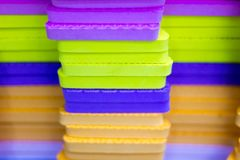 Multicolored EVA Foam puzzle mats stacked stock photography