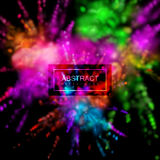 Multicolored explosive clouds of powder dye vector illustration
