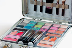 Multicolored eye shadows and cosmetics brush Stock Photo