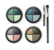 MultiColored Eye Shadows with Makeup Applicators Royalty Free Stock Photography