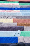 Multicolored fabric on drying. Multicolored fabric clothes on drying Royalty Free Stock Images
