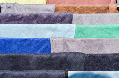 Multicolored fabric on drying. Multicolored fabric clothes on drying Stock Images