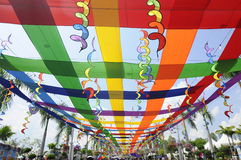 Multicolored fabric interspersed and suspended to form shading Royalty Free Stock Photo