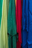 Multicolored fabric for sale at the market.  Stock Photo