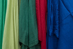 Multicolored fabric for sale at the market Stock Image