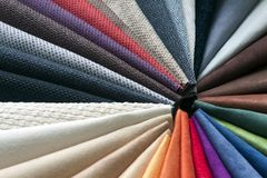 Multicolored fabric samples Royalty Free Stock Photos