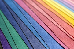 Multicolored fabric stack. Image cluseup detail of multicolored fabric cloth stack Stock Photos